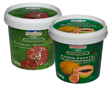 Joghurt Cranberry-Pomegranate and Joghurt Mango-Papaya-Passionfruit